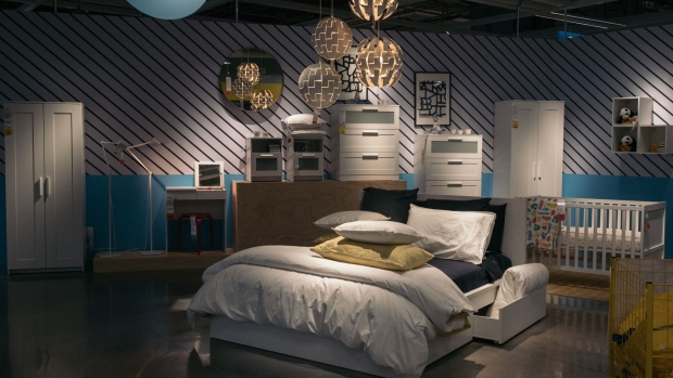 Bedroom furniture in the showroom of an Ikea store in Mexico City, Mexico, on Tuesday, April 20, 2021. The first Ikea store opened its doors in Mexico City in the first quarter of 2021, at the Encuentro Oceanía. The store created around 350 direct jobs and more than 1,000 indirect jobs. Photographer: Jeoffrey Guillemard/Bloomberg
