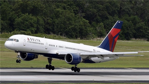 A Delta jet takes off from Seattle-Tacoma International Airport