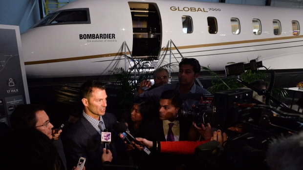 David Coleal, President, Bombardier Business Aircraft, speaks to the media about the Global 8000