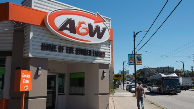 An A&W restaurant along Hastings Ave in Vancouver, B.C.