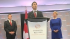 Prime Minister Justin Trudeau with Toronto Mayor John Tory and Ontario Premier Kathleen Wynne