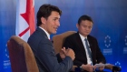 China Entrepreneur Club chairman Jack Ma and Justin Trudeau during a Q&A session in Beijing, China