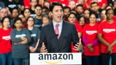 Prime Minister Justin Trudeau visits the new Amazon Fulfillment Centre while he makes an announcemen