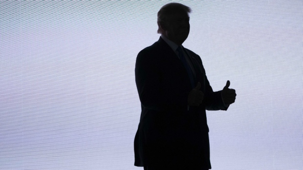 Donald Trump in silhouette during his 2016 U.S. Presidential Election campaign