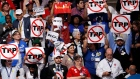 Demonstrators protest against the TPP at the Democratic National Convention in July