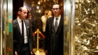 Steve Mnuchin, a potential pick to serve as Treasury Secretary, right, at Trump Tower