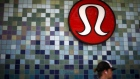 A Lululemon store logo is pictured on a shop in Santa Monica, California