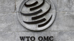 A World Trade Organization (WTO) logo on their headquarters in Geneva, Switzerland.