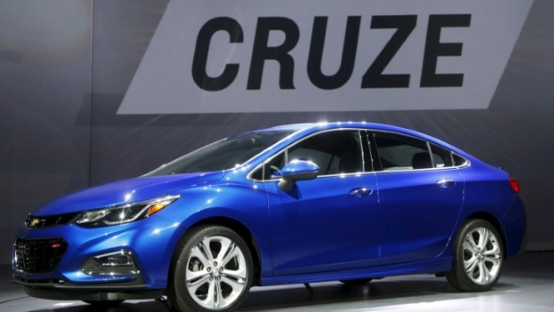 General Motors introduces the new 2016 Chevy Cruze vehicle at the Filmore Theater in Detroit.