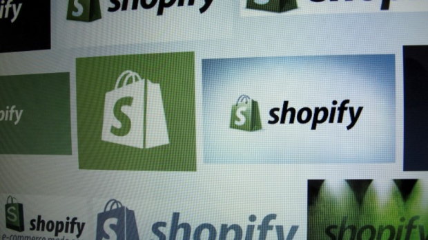 Canadian e-commerce company Shopify Inc logo is shown on a computer screen