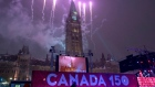 Fireworks behind the Peace Tower during on Parliament Hill Dec. 31, 2016.