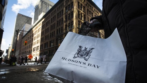 A shopping bag in front of the Hudson's Bay Company flagship department store in Toronto.