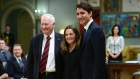 Governor General David Johnston, PM Justin Trudeau and Foreign Affairs Minister Chrystia Freeland