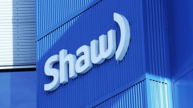 The Shaw logo is pictured on their Barlow Trail building, home to the annual Shaw AGM, in Calgary
