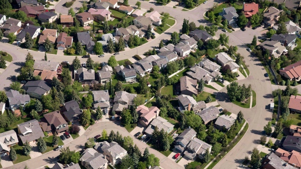 An aerial view of houses in Calgary