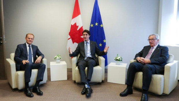 EU Council President, Canadian Prime Minister and European Commission President Jean Claude Junker