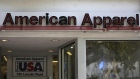 An American Apparel store logo is pictured on a building along the Lincoln Road Mall in Miami Beach