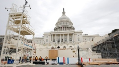 Construction on the Inaugural platform in preparation for the swearing-in of Donald Trump