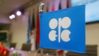 A flag with the OPEC logo before a news conference at OPEC's headquarters in Vienna, Austria.