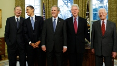 George H.W. Bush, Barack Obama, George W. Bush, Bill Clinton and Jimmy Carter at the White House