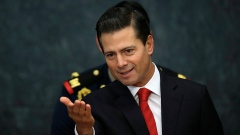 Mexico's President Enrique Pena Nieto holds a press conference at Los Pinos presidential residence