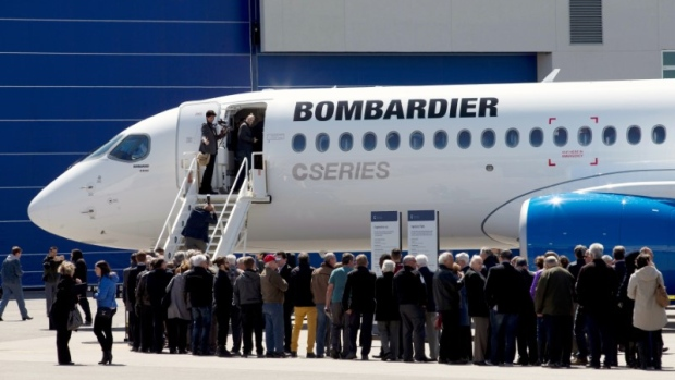 Shareholders line up to view Bombardier's CS300 aircraft following their AGM April, 29 2016
