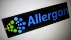 The Allergan logo is seen in this photo illustration in 2015