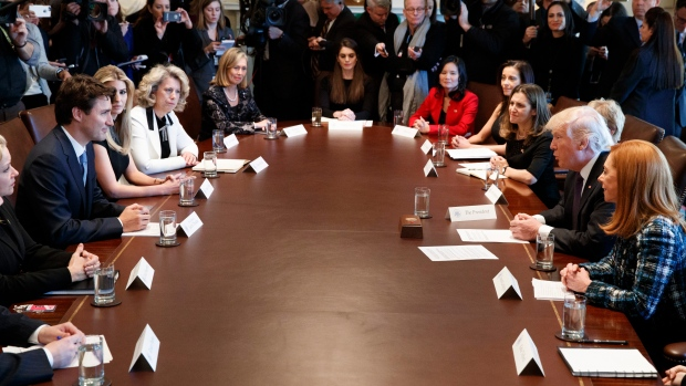 Donald Trump and Justin Trudeau meet with women business leaders at the White House Feb. 13, 2017.