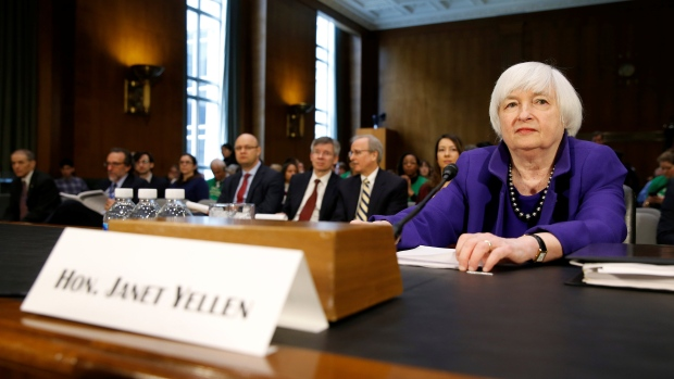 Federal Reserve Chair Janet Yellen prepares to speak before a Senate Banking Committee, Feb.14 2017.