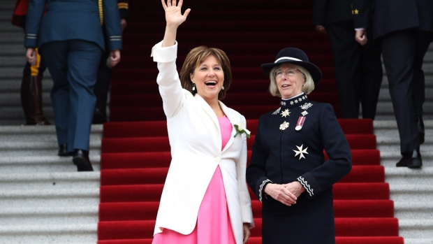 British Columbia's Lieutenant Governor Judith Guichon, right, and Premier Christy Clark
