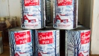 Maple syrup cans are seen at a sugar shack Friday, February 10, 2017 in Oka, Quebec. Quebec.