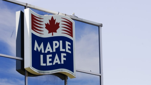 A sign for the Maple Leaf food processing plant is seen in Toronto