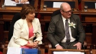 B.C. Finance Minister Michael de Jong, and Premier Christy Clark in the Legislative Assembly