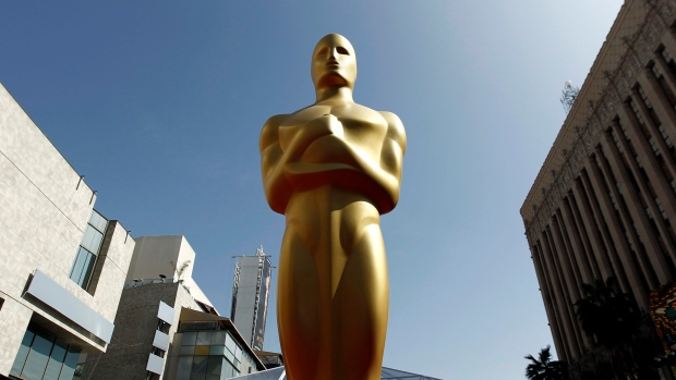 This shows an Oscar statue on the red carpet before the 84th Academy Awards in Los Angeles.