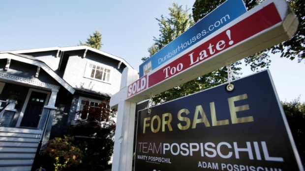 A real estate for sale sign is pictured in front of a home in Vancouver, B.C.
