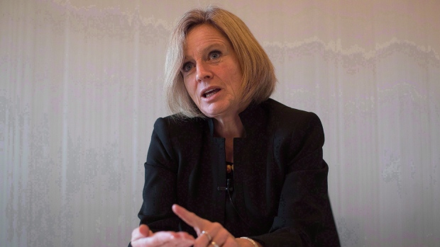 Alberta Premier Rachel Notley gives an interview in Vancouver