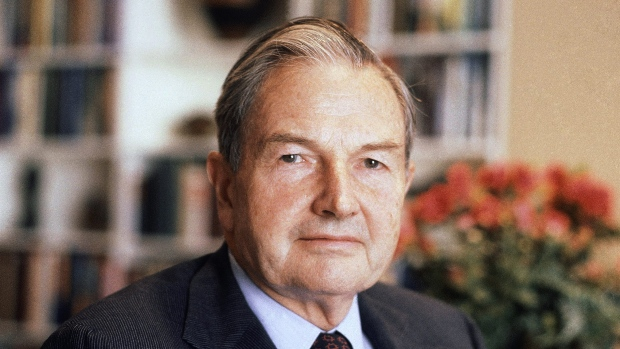 David Rockefeller poses for a photograph in 1981