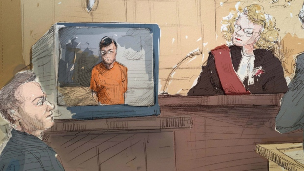 Left to right: Defence lawyer Amedeo Dicarlo, Karim Baratov via video link and Justice Kim Carpenter
