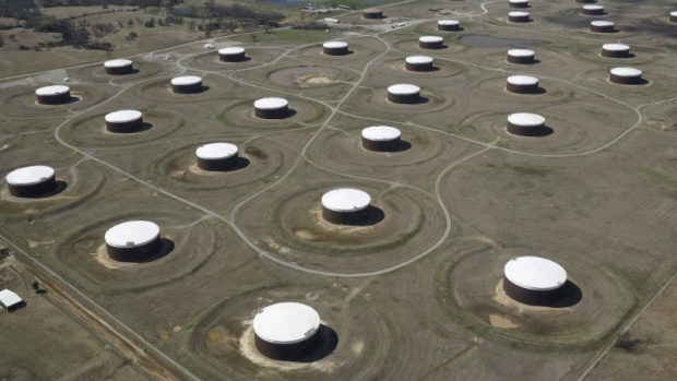 Crude oil storage tanks are seen from above at the Cushing oil hub, in Cushing, Oklahoma.