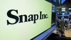The Snap Inc. logo appears above the post where it trades on the floor of the NYSE