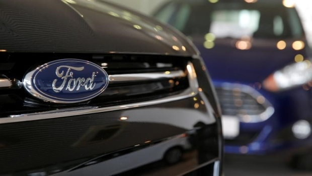 Ford cars are seen on sale at a dealership of Genser company in Moscow, Russia