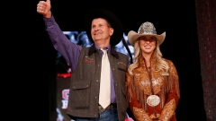 World Champion chuckwagon driver Kelly Sutherland after he was auctioned off
