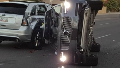 A self-driven Volvo SUV owned and operated by Uber Technologies Inc. flipped after collision.