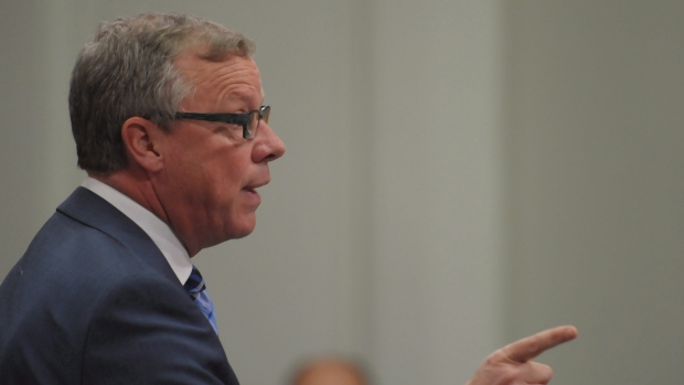 Premier Brad Wall reacts during question period before Saskatchewan's 2017 budget