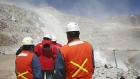 Workers walk near Barrick Gold Corp's Veladero gold mine in Argentina