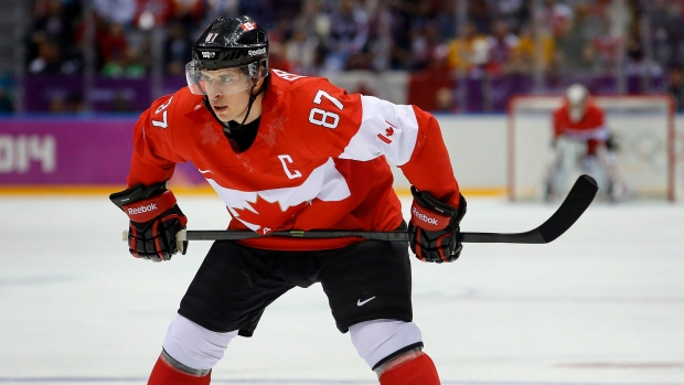 Sidney Crosby represents Canada at the 2014 Sochi Winter Olympics