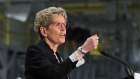 Ontario Premier Kathleen Wynne speaks at the Ford Essex Engine Plant in Windsor, Ont. on Mar. 30