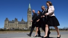 Bill Blair, ody Wilson-Raybould, Ralph Goodale and Jane Philpott walk past Centre Block