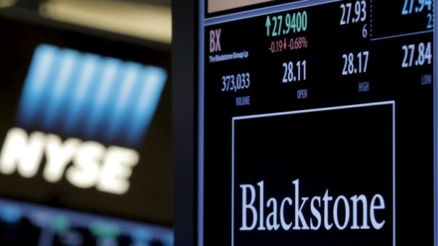 Blackstone Group trading info is displayed at its post on the NYSE floor