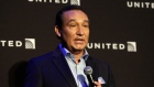 United Airlines CEO Oscar Munoz delivers remarks in New York in 2016